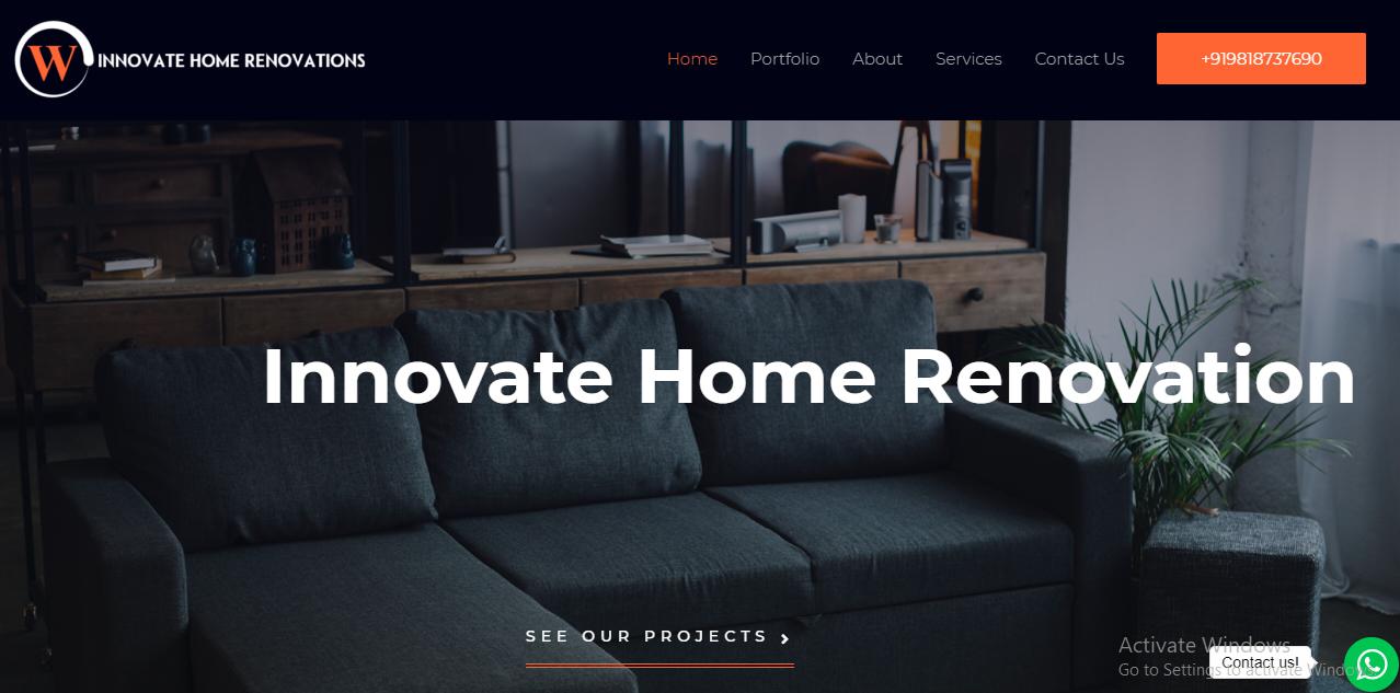 Innovate Home Renovations Website Screen Shot