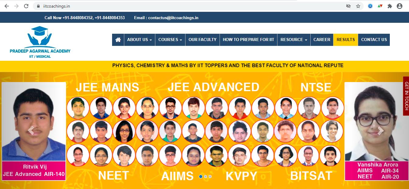iitcoachings Website Screen Shot